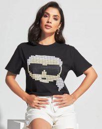 Дамска тениска в черно с принт - код 6862