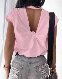 Дамска тениска с ефектен гръб в розово - код 4515