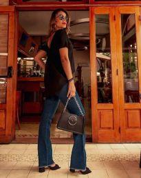 Дамска туника в черно с изрязан гръб - код 0880