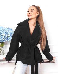 Късо дамско палто с колан в черно - код 0121