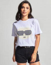 Дамска тениска в бяло с принт - код 6862