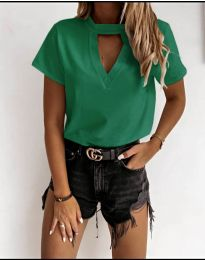 Дамска изчистена тениска в зелено - код 3597