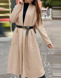 Дамско дълго палто в бежово - код 1566