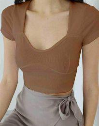 Дамска изчистена тениска рипс в цвят капучино - код 1280