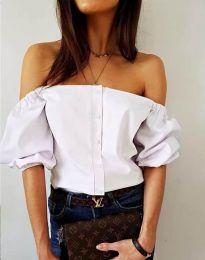 Екстравагантна дамска риза с паднали рамене в бяло - код 3525