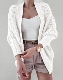 Дамска плетена жилетка в бяло - код 5128