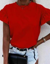 Дамска тениска с ефектни ръкави с къдрички в червено - код 4352