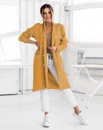 Ефектна дълга плетена дамска жилетка с копчета в цвят горчица - код 8411
