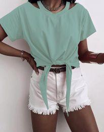 Ефектна дамска тениска в цвят мента - код 11669
