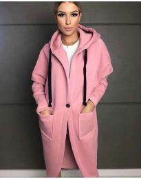 Стилно спортно-елегантно дамско палто с качулка в розово - код 0855