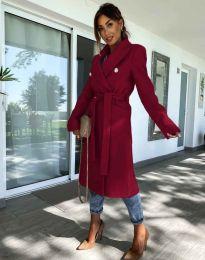 Дълго елегантно дамско палто с колан в цвят бордо - код 6429