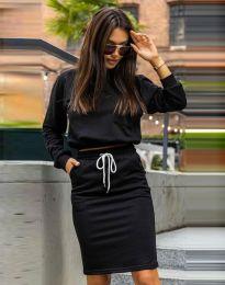 Атрактивен дамски сет блуза с дълъг ръкав и спортна пола в черно - код 0759