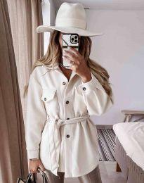Дамско палто с копчета и колан в бяло - код 6398