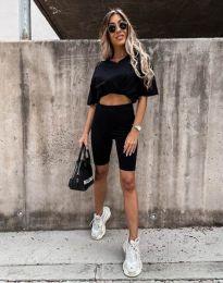 Дамски спортен сет тениска и клин в черно - код 9954