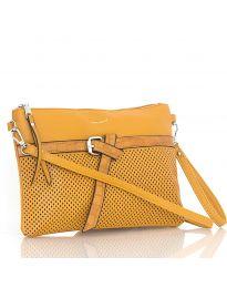 Дамска чанта в кафяво с цип и декоративна катарама - код LS 589