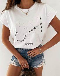 Дамска тениска с принт зодия скорпион в бяло - код 2342