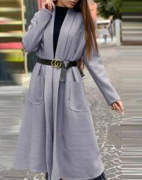 Дамско дълго палто в сиво - код 1566