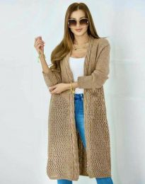 Атрактивна дамска дълга плетена жилетка в капучино - код 7361