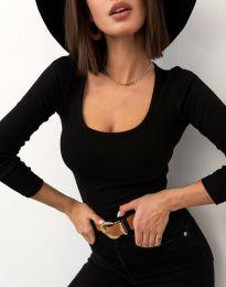 Изчистена блуза рипс в черно - код 11662