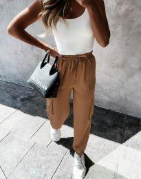 Дамски свободен панталон в цвят капучино - код 11803