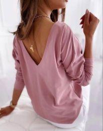 Свободна елегантна дамска блуза с гол гръб в розово - код 5173