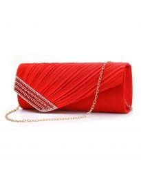 Стилна дамска чанта в червено тип клъч с капак и дълга метална дръжка - код B166