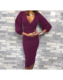 Obleka - koda 8706 - 3 - temno vijolična
