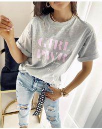 Дамска тениска в сиво с принт - код 4249