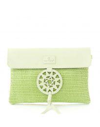 Дамска чанта в зелено от плетиво с капак и ефектна катарама - код OY-1202