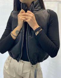 Къс кожен дамски елек с цип в черно - код 8561