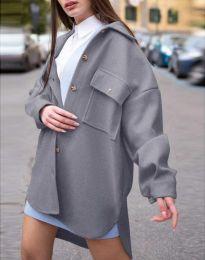 Дамско свободно палто с копчета в сиво - код 4070