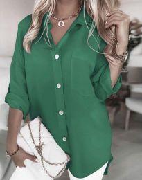 Дълга свободна дамска риза в зелено - код 0239