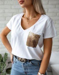 Бяла тениска с ефектен джоб - код 11631