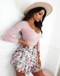 Дамска блуза рипс с дълбоко деколте в розово - код 8755