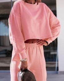 Спортен комплект със свободна блуза в цвят праскова - код 6931