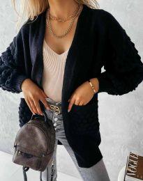 Модерна дълга свободна плетена жилетка в черно - код 0785