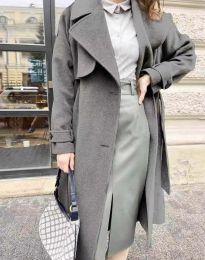 Дамско дълго елегантно палто с копчета и колан в тъмносиво - код 1635