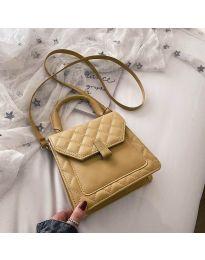 Дамска чанта в цвят горчица с капак и шевове - код B48