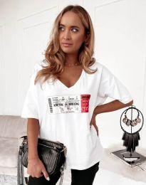 Тениска в бяло с ефектен принт - код 7898 - лице