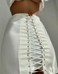 Дамска пола с връзки в бяло - код 2590