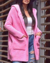 Дамска свободна жилетка с качулка в  розово - код 9066