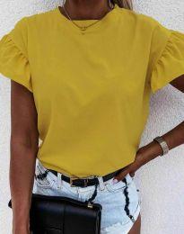 Дамска тениска с ефектни ръкави с къдрички в цвят горчица - код 4352