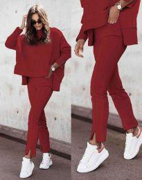 Дамски спортно-елегантен комплект долнище и свободна блуза с дълъг ръкав в цвят бордо - код 3171