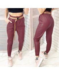 Дамски панталон еко кожа в цвят бордо - код 6329