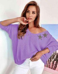 Дамски свободен пуловер с паднало рамо в лилаво - код 1865