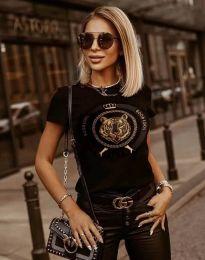 Тениска в черно с моден принт - код 2126