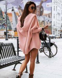 Дамска свободна плетена жилетка с качулка в розово - код 4760