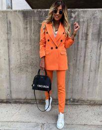 Елегантен дамски комплект сако с копчета и панталон в оранжево - код 4090