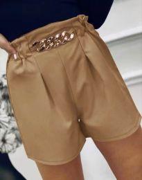 Атрактивни къси панталони в цвят капучино - код 2085