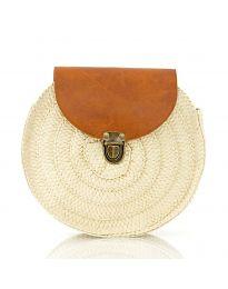 Дамска чанта в бежово от три части от плетиво с капак и дълга дръжка - код 90144-13